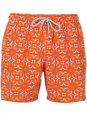 Пляжные шорты с геометрическим принтом листьев Capricode. Цвет: жёлтый и оранжевый