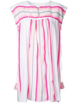 Короткое платье в полоску Lemlem. Цвет: белый