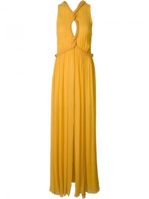 Платье макси с декоративной веревкой Jay Ahr. Цвет: жёлтый и оранжевый