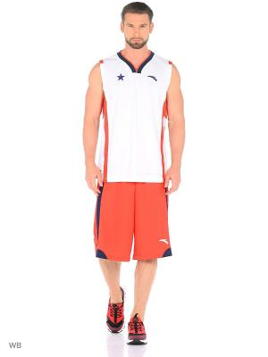 Майка спортивная ANTA. Цвет: белый, красный