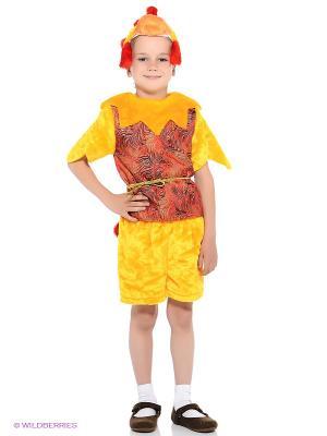 Карнавальный костюм Петух Петя Батик. Цвет: желтый