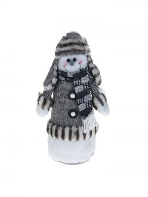 Мягкая игрушка Снеговик в серой шубке , 35,5 см А М Дизайн. Цвет: светло-серый, молочный, серебристый
