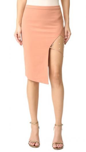 Асимметричная юбка с сетчатой вставкой Michelle Mason. Цвет: оранжевый