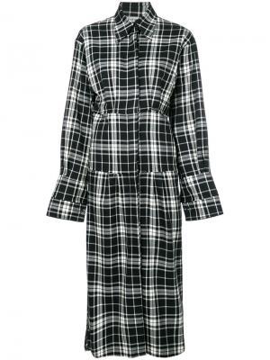 Платье-рубашка в клетку Akep. Цвет: чёрный