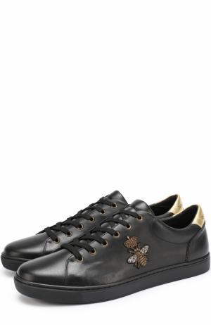 Кожаные кеды London с вышивкой канителью Dolce & Gabbana. Цвет: черный