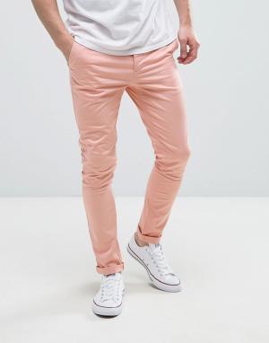 ASOS Розовые супероблегающие чиносы. Цвет: розовый