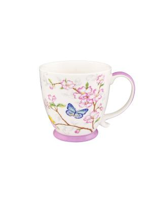 Кружка Бабочки в сакуре Elan Gallery. Цвет: розовый, белый, синий