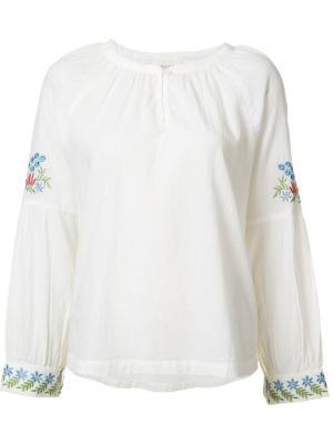 Блузка с вышивкой на рукавах The Great. Цвет: белый