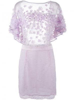 Мини-платье с цветочной аппликацией Amen. Цвет: розовый и фиолетовый