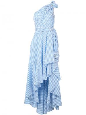 Striped asymmetric dress Talbot Runhof. Цвет: синий
