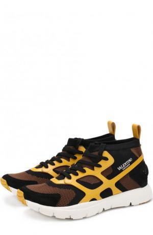 Текстильные кроссовки  Garavani Sound High на шнуровке Valentino. Цвет: желтый