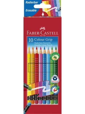Цветные карандаши GRIP 2001 с ластиками, набор цветов, в картонной коробке, 10 шт. Faber-Castell. Цвет: красный