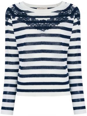 Полосатый свитер с кружевной отделкой Vanessa Bruno. Цвет: белый