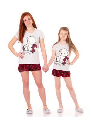 Комплект домашний: футболка, шорты Апрель. Цвет: серый, зеленый, красный