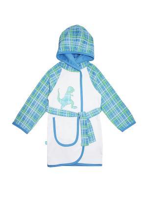 Халат на поясе, с карманом КОТМАРКОТ. Цвет: белый, зеленый, голубой