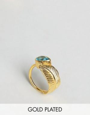 Ottoman Hands Кольцо с листиком и камнем. Цвет: золотой