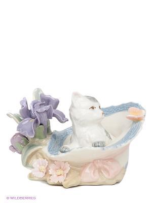 Фигурка Котенок в шляпе Pavone. Цвет: серо-голубой, сиреневый