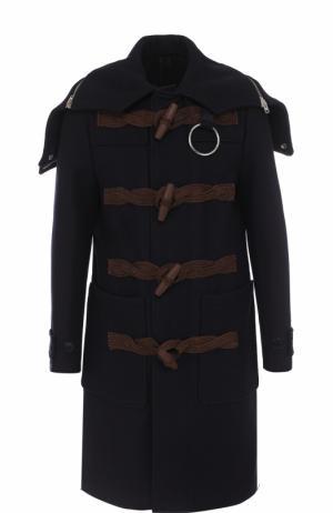 Шерстяной дафлкот с капюшоном Givenchy. Цвет: темно-синий