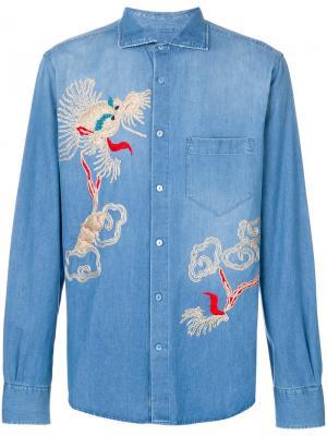 Джинсовая рубашка с вышивкой Ermanno Scervino. Цвет: синий