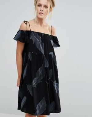 Little White Lies Платье с открытыми плечами Francoise. Цвет: черный