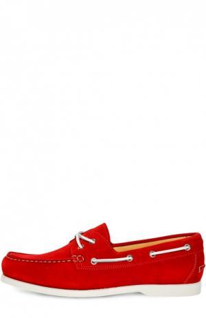 Замшевые топсайдеры с контрастным шнурком Kiton. Цвет: красный