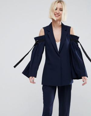 ASOS Блейзер с открытыми плечами и отделкой на рукавах Tailored. Цвет: темно-синий