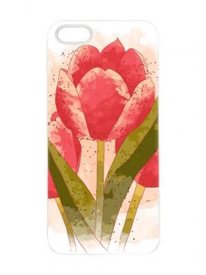 Чехол для iPhone 5/5s Тюльпаны акварелью Chocopony. Цвет: кремовый, красный