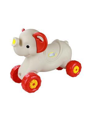 Каталка детская Слонёнок (слон. кость) Альтернатива. Цвет: красный, светло-серый
