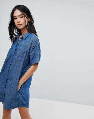 BLANK NYC Джинсовое платье-рубашка. Цвет: синий