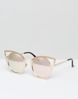 7X Солнцезащитные очки кошачий глаз. Цвет: золотой