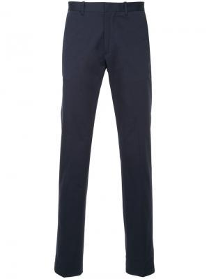 Классические приталенные брюки Kent & Curwen. Цвет: синий