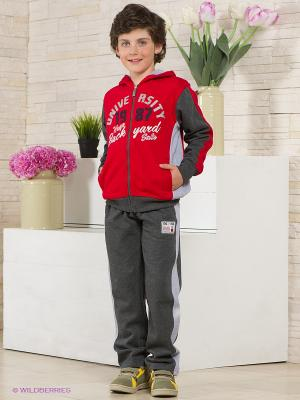 Спортивный костюм IDO. Цвет: серый, красный, светло-серый