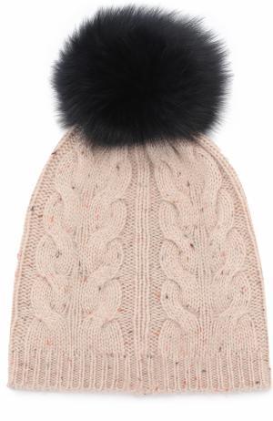 Шерстяная шапка фактурной вязки с помпоном Yves Salomon Enfant. Цвет: синий