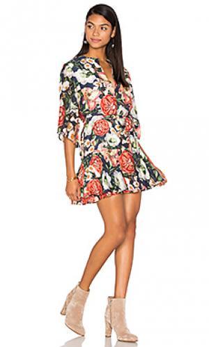 Платье с рюшами valerian PFEIFFER. Цвет: синий