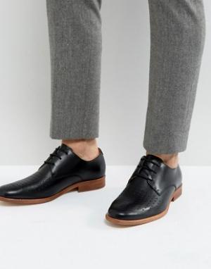 Zign Кожаные перфорированные туфли на шнуровке. Цвет: черный