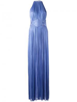 Вечернее платье с глубоким разрезом сбоку Maria Lucia Hohan. Цвет: синий