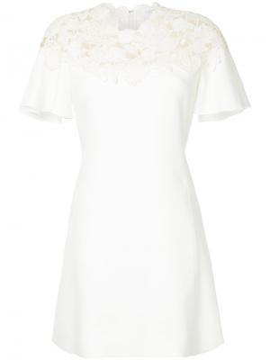 Короткое платье с деталью в технике макраме Giambattista Valli. Цвет: белый