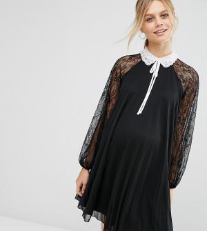 ASOS Maternity Платье-трапеция мини для беременных с отделкой. Цвет: черный