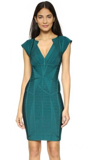 Бандажное платье Penelope Herve Leger. Цвет: графит, бирюзовый