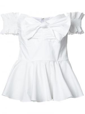 Блузка с открытыми плечами Caroline Constas. Цвет: белый