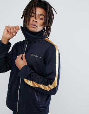 Mennace Темно-синяя спортивная куртка с золотистыми полосами по бокам. Цвет: темно-синий