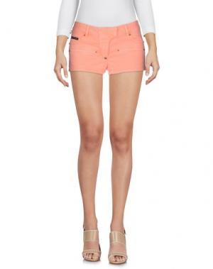 Джинсовые шорты PHILIPP PLEIN. Цвет: лососево-розовый