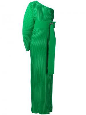Плиссированное платье на одно плечо Solace. Цвет: зелёный