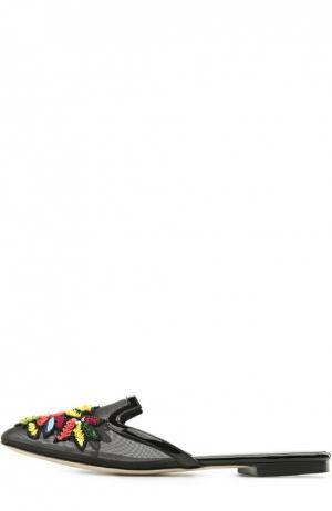 Шлепанцы Patrizia с аппликациями Oscar de la Renta. Цвет: черный