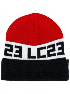 Шапка-бини вязки интарсия с логотипом Lc23. Цвет: синий
