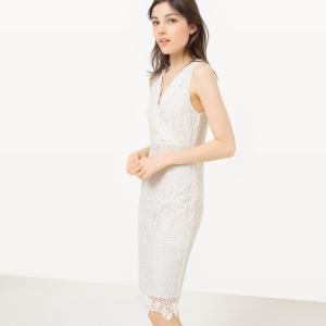 Платье облегающее с запахом из кружева цветочным орнаментом MOLLY BRACKEN. Цвет: темно-синий,экрю