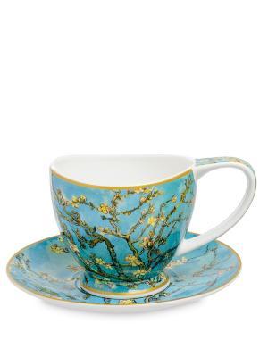 Чашка с блюдцем Ветки цветущего миндаля (В. Гог) 250 мл (Carmani) Carmani. Цвет: белый