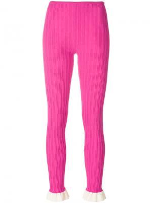 Трикотажные леггинсы с оборками Esteban Cortazar. Цвет: розовый и фиолетовый