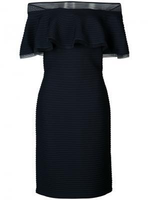 Платье с открытыми плечами Tadashi Shoji. Цвет: синий