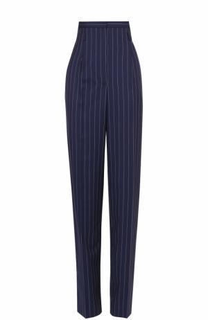Шерстяные брюки в полоску с завышенной талией Aquilano Rimondi. Цвет: синий